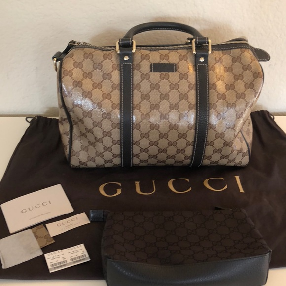 2024f6460e3b01 Gucci Bags | Joy Boston Bag Gg Coated Canvas Medium | Poshmark